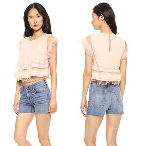 J.O.A Frilly Lace Mesh Blouse in Peach